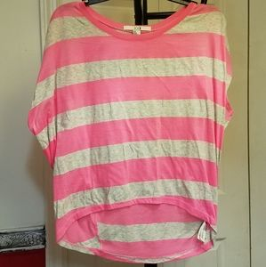 Pink & Pale Gray Striped Droopy T-Shirt Blouse